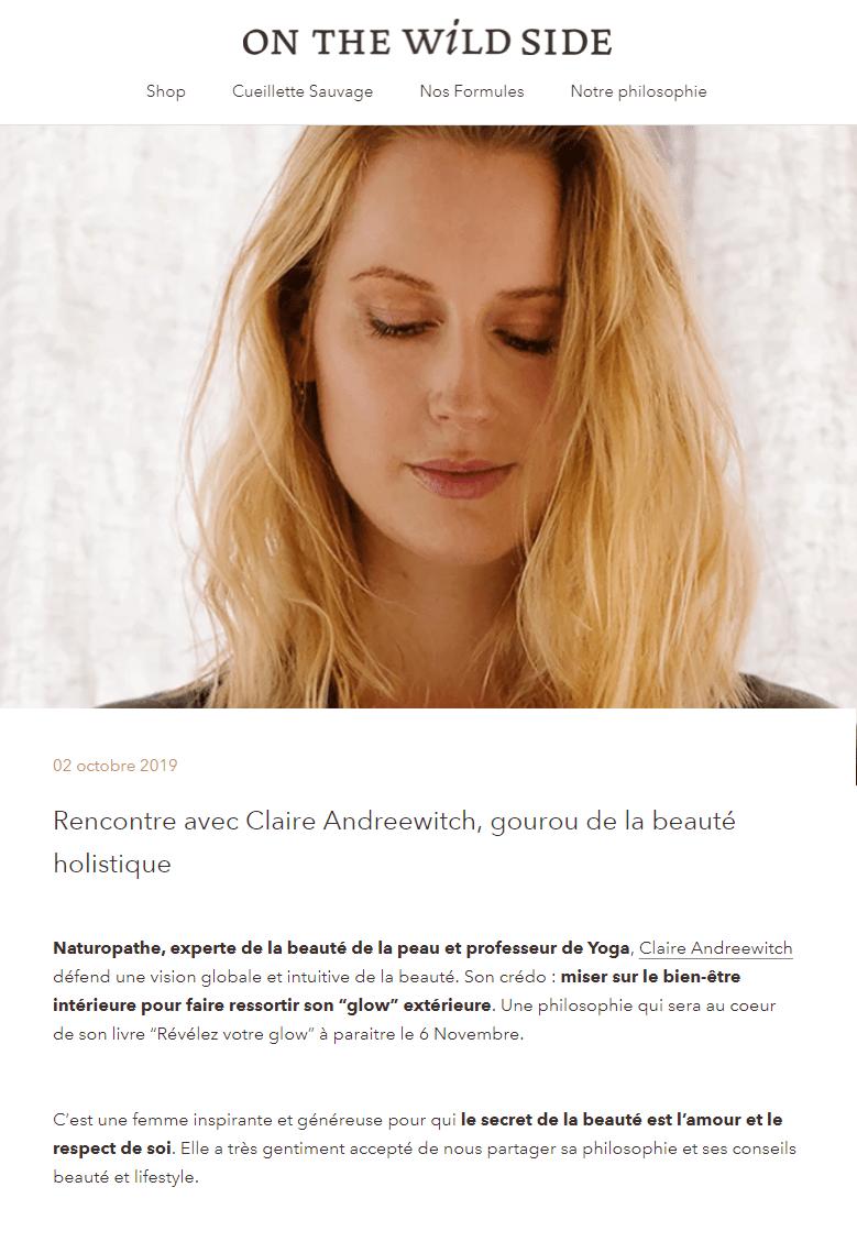 Artcile Claire Andréewitch sur onthewildsidecosmetics.com